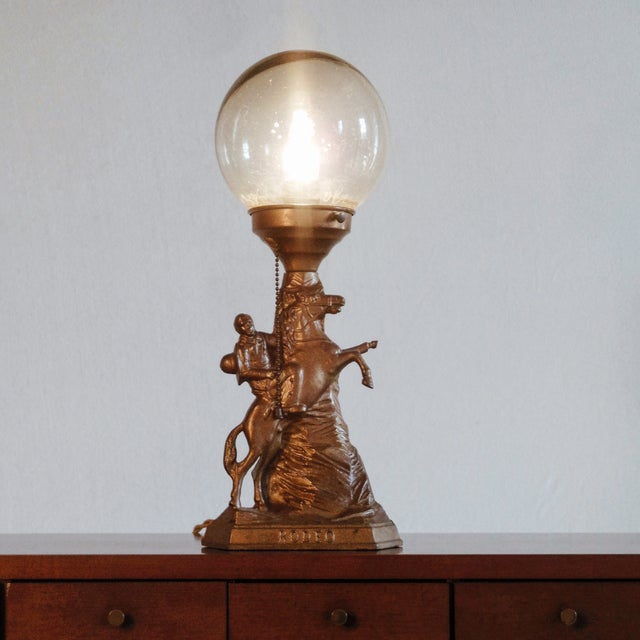 Cowboy Rodeo Bronze Lamp with Glass Globe - Image 2 of 4