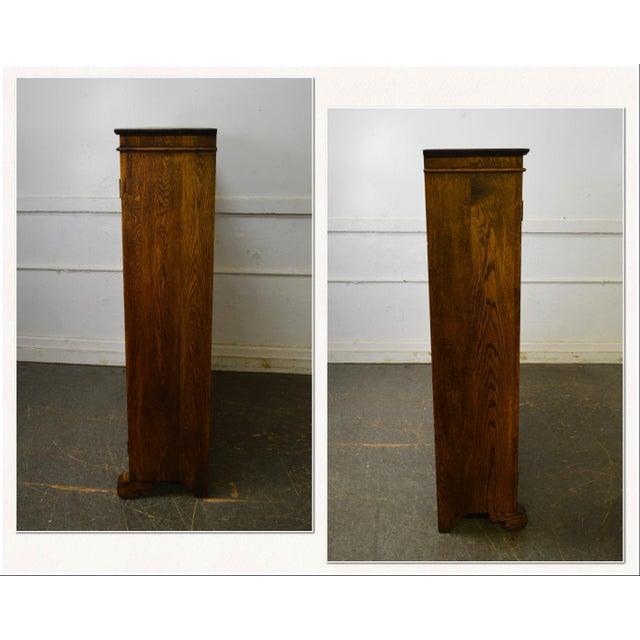 Antique Oak 2 Door Leaded Glass Door Bookcase - Image 2 of 13 - Antique Oak 2 Door Leaded Glass Door Bookcase Chairish