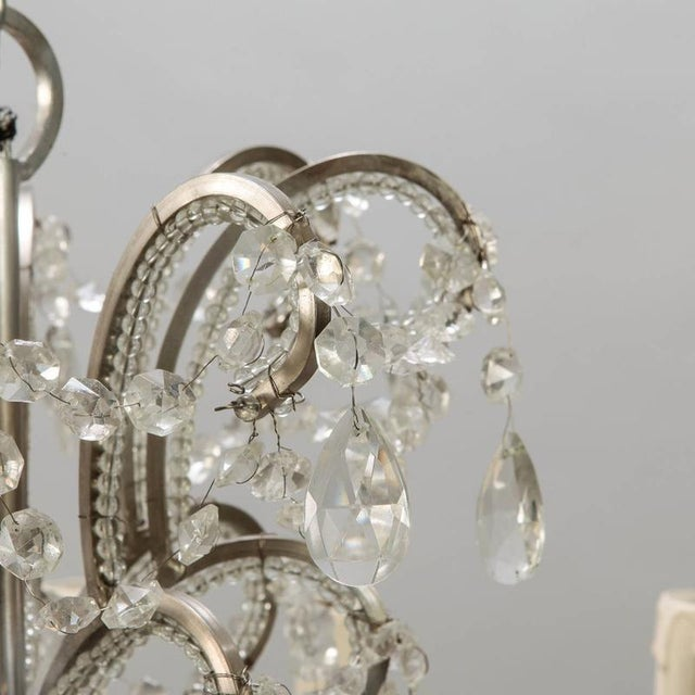 Crystal Sixteen Arm Silver Metal Highly Beaded French Chandelier For Sale - Image 7 of 9