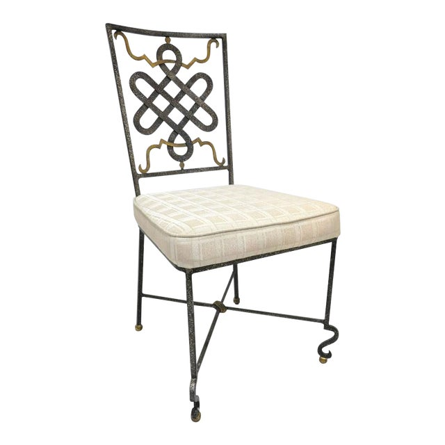 Mid-20th Century French Painted Iron Chairs With Fabric Cushions - Set of 6 For Sale