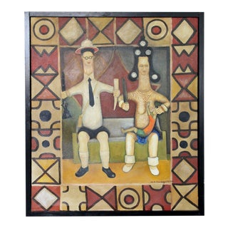 Mid Century Modern Framed Signed Acrylic Painting by Nigerian Artist For Sale