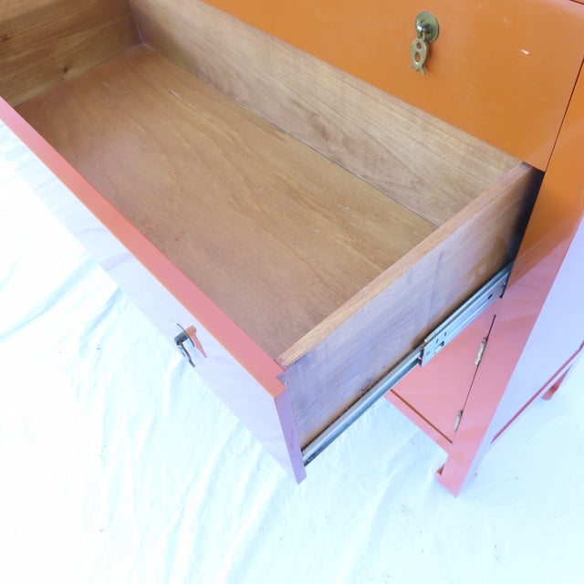 Vtg 1970s Chinese Lacquered Burnt Orange Tall Chest Dresser Cabinet Hong Kong For Sale - Image 9 of 13