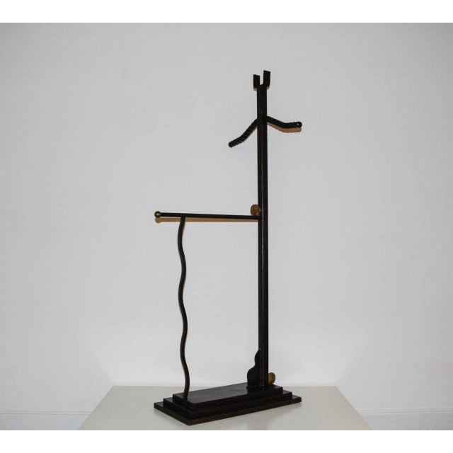 Metal 1989 Post Modern Maurice Beane Black Steel and Yellow Brass Valet For Sale - Image 7 of 10
