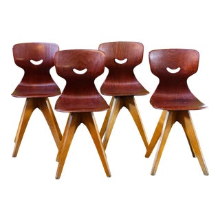 Set Four German Mid Century Modern Plywood Chairs Designed by Adam Stegner for Pagholz For Sale