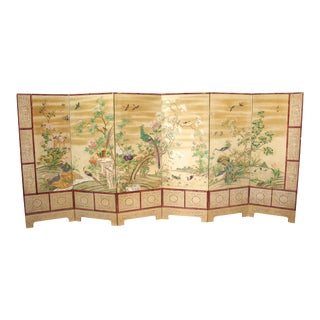 Chinese Export Hand-Painted Wallpaper Six Panel Screen with Birds and Flowers For Sale