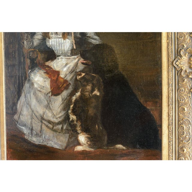 "19th C. Dutch ""Lady with Dogs and Cat"" Oil Painting For Sale - Image 4 of 6"