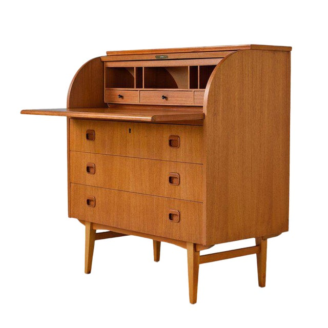 Midcentury Swedish Modern Egon Ostergaard Rolltop Secretary Desk With Key For Sale