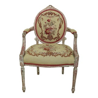 French Louis XVI Style Needlepoint Paint Decorated Armchair For Sale
