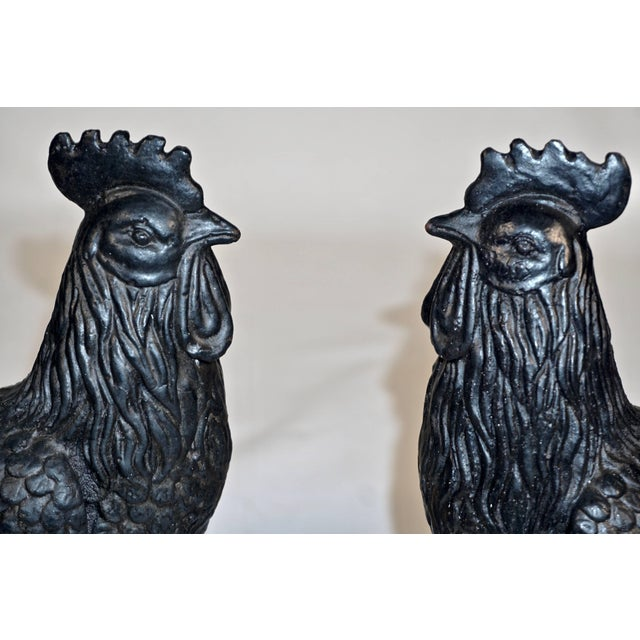 An antique French blacksmith made hand cast iron bird with black paint. Beautifully detailed sculpture cockerel with...