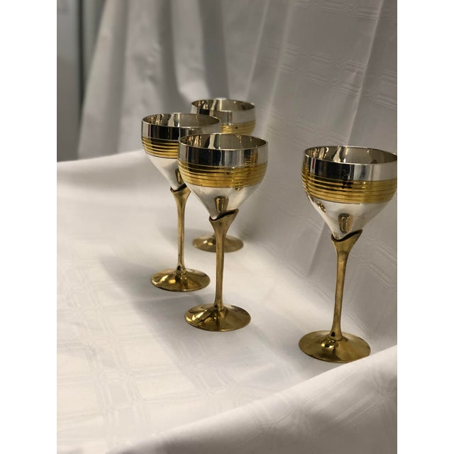 1970s Set of Four Chrome and Brass Goblets For Sale - Image 5 of 7