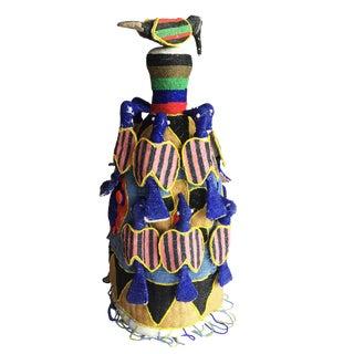 "Stunning African Yoruba Beaded King Crown 21.5"" H Nigeria For Sale"
