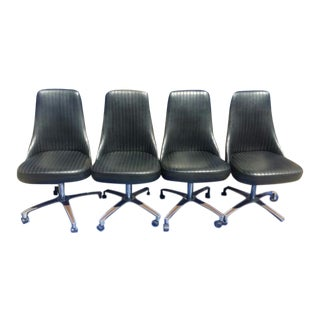 Vintage Chromcraft Sculptura Swivel Aluminum/Steel and Black Vinyl Chairs, C.1960s - Set of 4 For Sale