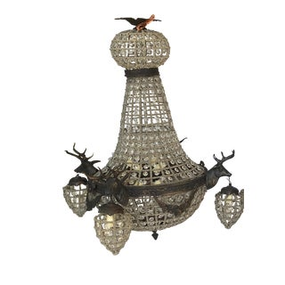 One Bronze 10 Light Deer Head Chandelier