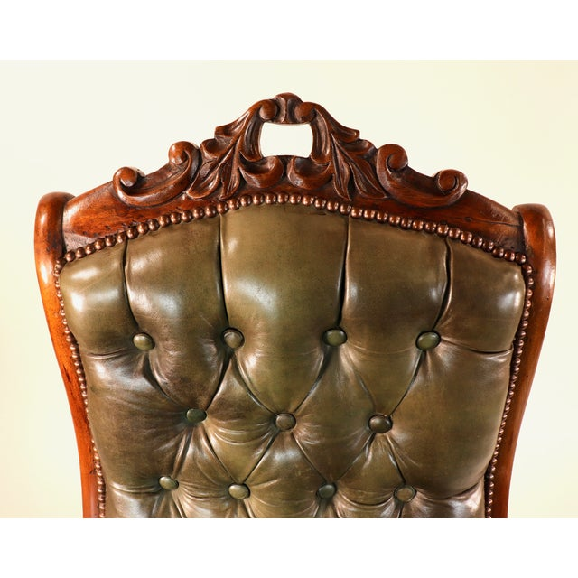 1830s English William IV Mahogany & Leather Rocking Chair For Sale - Image 9 of 13