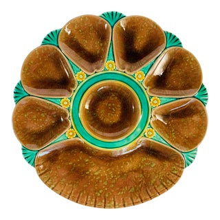 19th Century English Majolica Pottery Oyster Plate For Sale