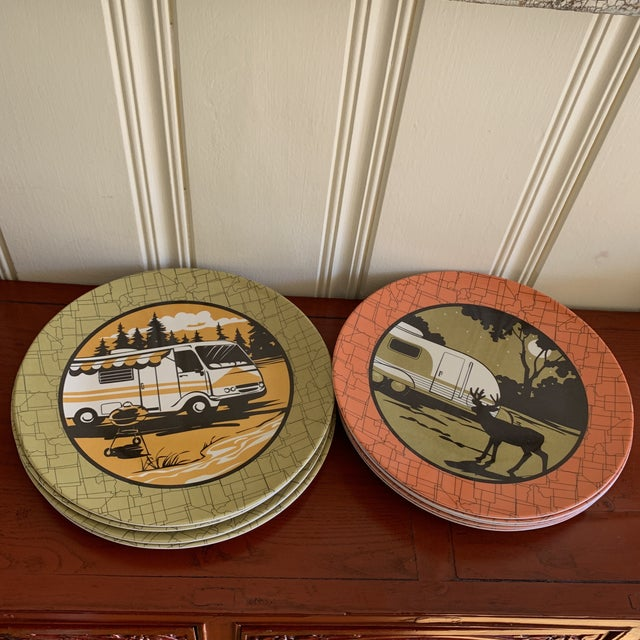 Green Camping Outdoor Dining Trailer Park Plates, Set of Eight For Sale - Image 8 of 12