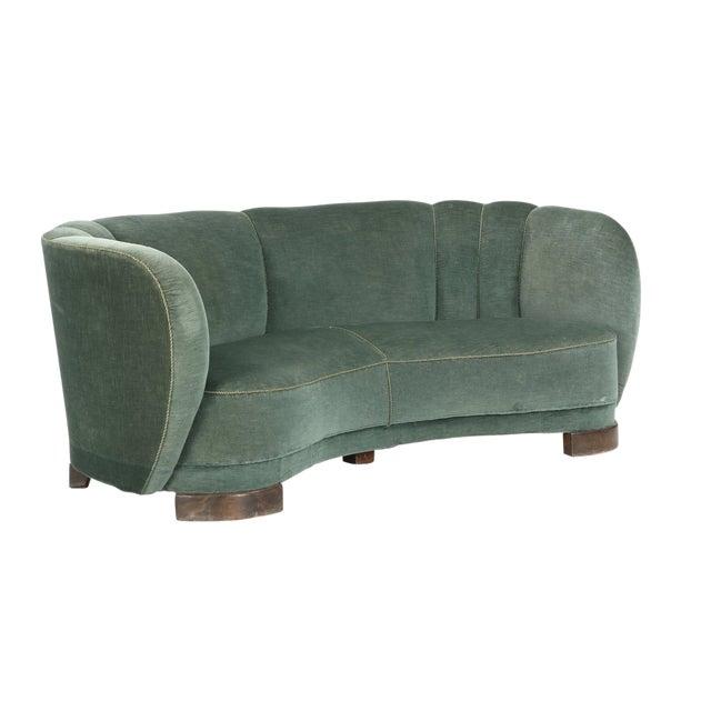 Curved Green Banana Sofa in Style of Viggo Boesen / Fritz Hansen, Denmark, 1940s For Sale