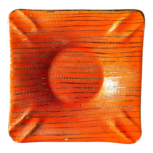 Mid Century Bitossi Orange Gold Ashtray For Sale