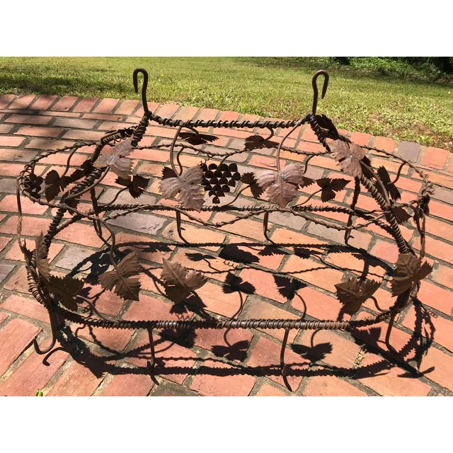 1970s Custom Crafted Enchanting Wrought Iron Grape Vine Pot Rack For Sale - Image 11 of 13