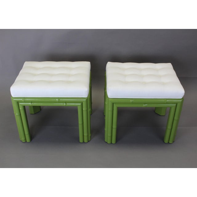 Pair of Faux Bamboo Green Benchches - Image 2 of 11