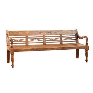 Vintage Colonial Teak Bench For Sale