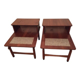 Lane Mid-Century Monte Carlo Tile End Tables - a Pair For Sale