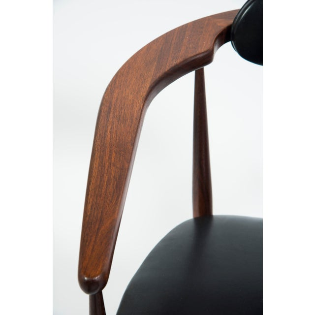 Wood Adrian Pearsall Craft Associates Mid Century Black Leather 950 Chairs - a Pair For Sale - Image 7 of 13