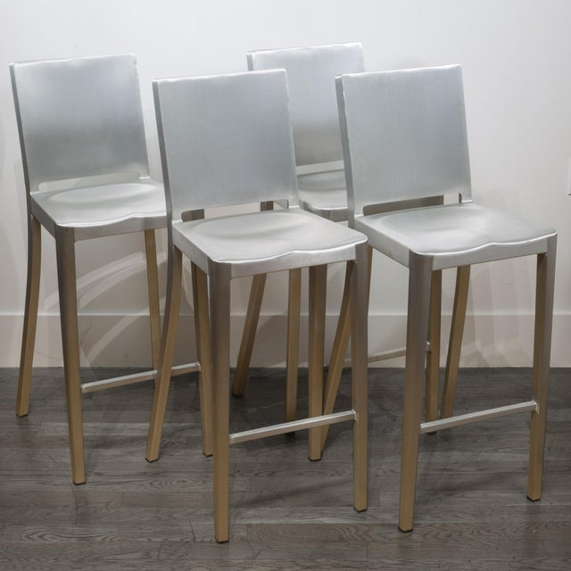Set of 4 Emeco Hudson Counter Stools by Philippe Starck For Sale - Image 10 of 10