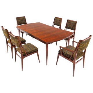 Dining Table with Three Extension Leaves and Six Matching Chairs Set For Sale