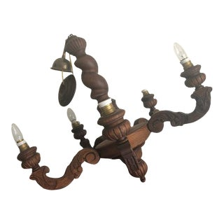 Late 20th Century Hand-Carved 5 Light Chandelier For Sale