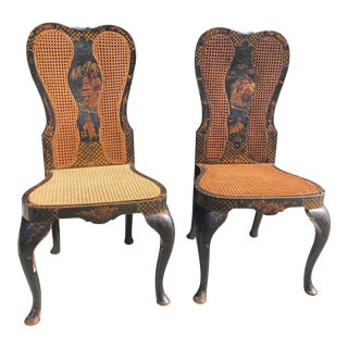 Early 20th Century Vintage Queen Anne Style Chinoiserie Hand Painted Chairs - a Pair For Sale