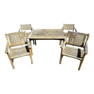 Kircodan of Denmark Danish Modern Solid Teak Outdoor Dining Set-5 Piece For Sale