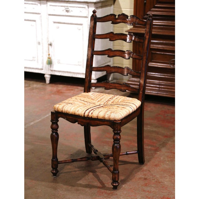 French Country Country French Carved Walnut Ladder Back Chairs With Rush Seat, Set of Six For Sale - Image 3 of 11