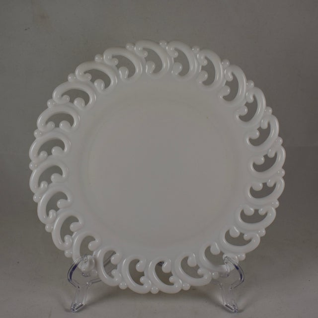 Victorian 19th C. Eapg Lace Edge Milk Glass Dinner Plates, S/4 For Sale - Image 3 of 8