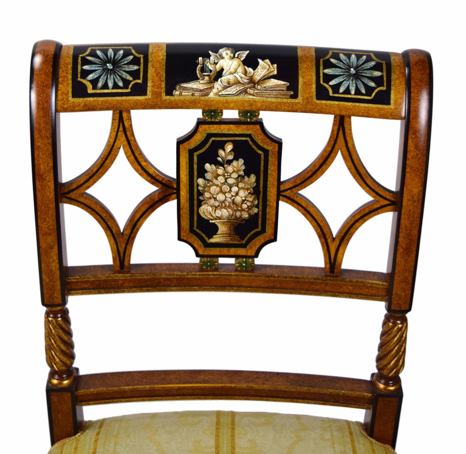 Italian Galimberti Lino Hand Painted Neoclassical Chairs A Pair