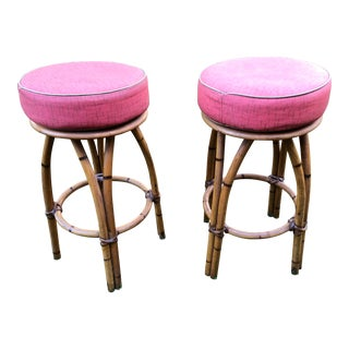 Vintage Heywood Wakefield Bamboo Rattan Bar Stools a Pair For Sale
