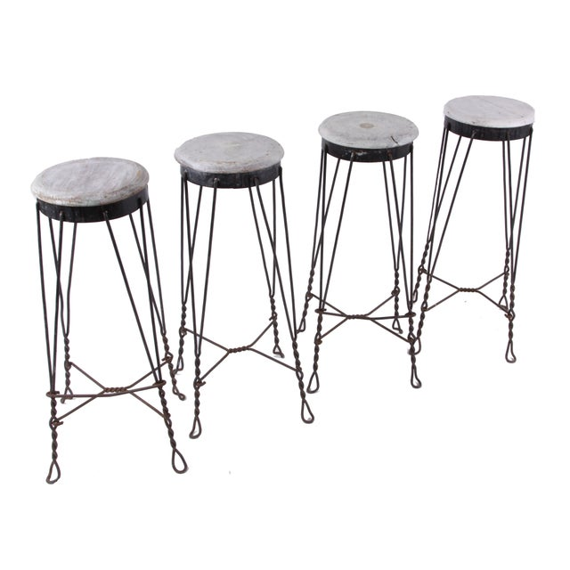 Vintage French Parlor Stools -- Set of 4 - Image 3 of 5