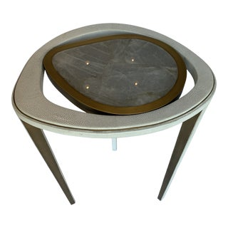 R & Y Cream Peacock Shagreen and White Quartz Side Table (L) For Sale