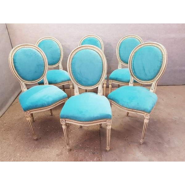 French Antique French Reupholstered Whitewashed Louis XVI Medallion Dining Chairs - Set of 6 For Sale - Image 3 of 13