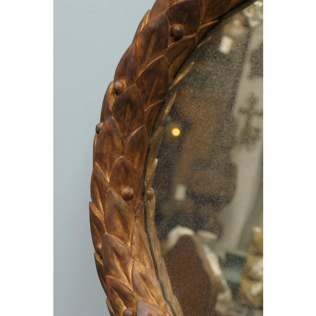 Early 21st Century Garland Mirror With Gilded Wooden Frame and Foliage Motif For Sale - Image 5 of 9