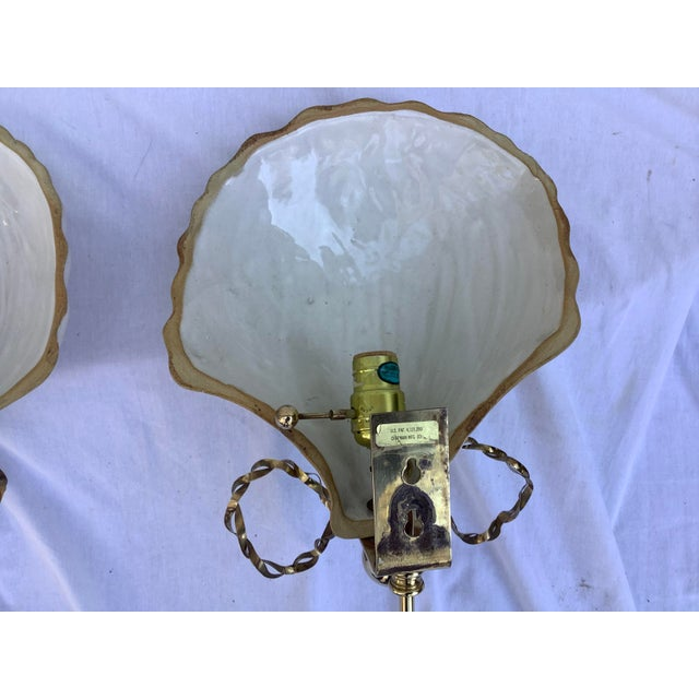 Chapman Shell Sconces, a Pair For Sale - Image 9 of 13