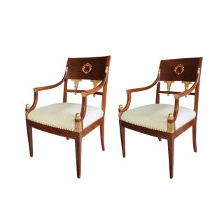Handsome Pair of Danish Neoclassical Style Mahogany and Parcel-Gilt Armchairs For Sale