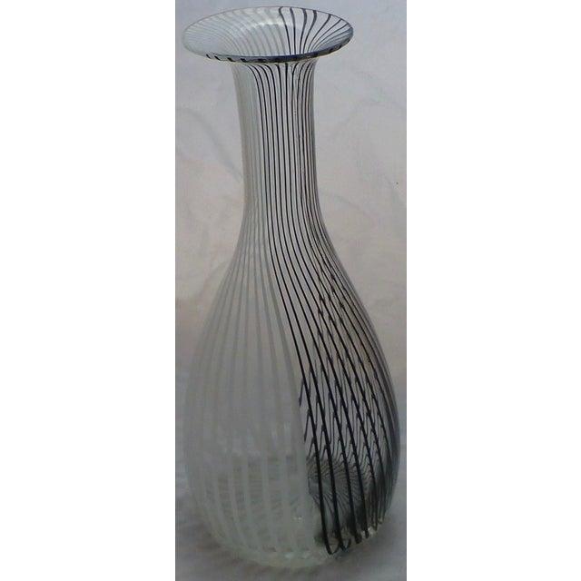 Murano Murano Glass Black & White Striped Vase by Venini For Sale - Image 4 of 7