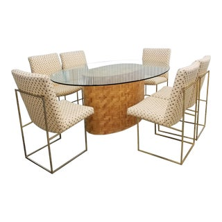 1970s Tessellated Rattan Dining Table With 6 Thayer Coggin Milo Baughman Dining Chairs - 7 Piece Dining Set For Sale