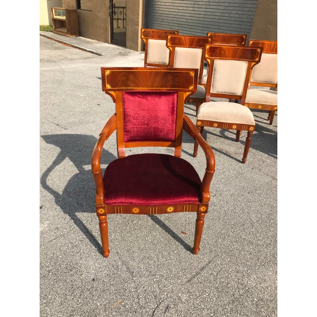 1910s Vintage Biedermeier Style Flame Mahogany Dining Chairs- Set of 8 For Sale In Miami - Image 6 of 13