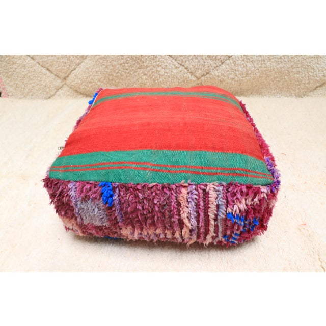 Vintage Moroccan Wool Pouf Cover For Sale - Image 11 of 13