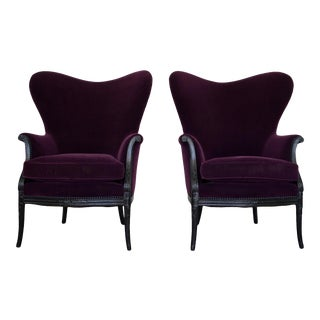 Hollywood Regency Butterfly Wingback Chairs in Mohair - a Pair For Sale
