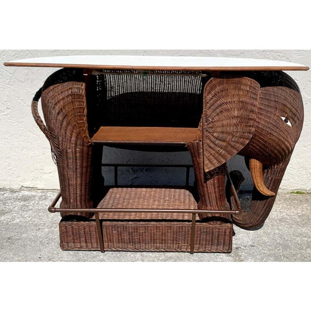 1960s Chinese Export Wicker Elephant Dry Bar For Sale - Image 9 of 13
