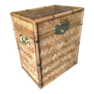 Bamboo Chest With Woven Wicker Cover and Cedar Interior For Sale