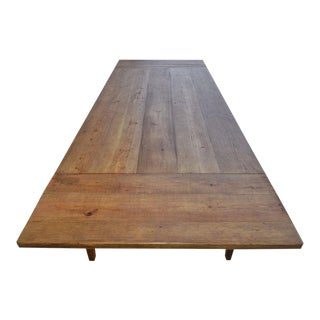 Farmhouse Expandable Harvest Table in Vintage Heart Pine For Sale
